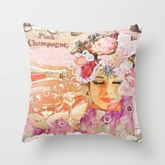 Pink Champagne  Throw Pillow