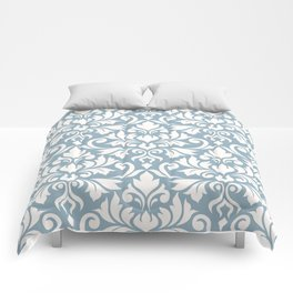 Flourish Damask Big Ptn Cream on Blue Comforters