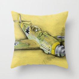 Bf-109 Airplane by Dennis Weber / ShreddyStudio Throw Pillow