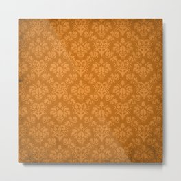 Orange Damask Metal Print
