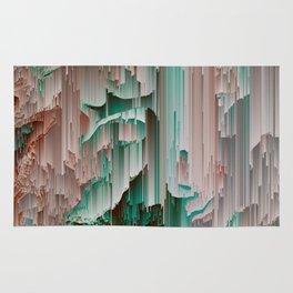 Teal Abstract Digital Waterfall Rug