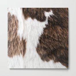 Brown and White Cowhide, Cow Skin Pattern, Farmhouse Decor Metal Print
