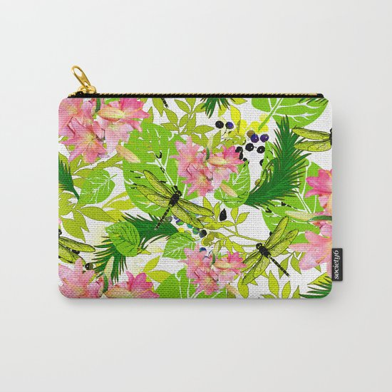 PALM AND LILY PINK AND GREEN Carry-All Pouch