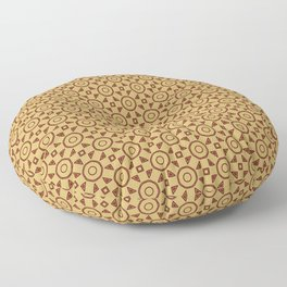 Handdrawn Geometric Pattern Red on Gold Floor Pillow