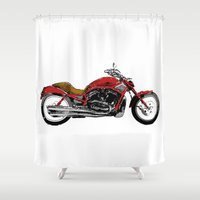 motorcycle Shower Curtains featuring Motorcycle by magnez2
