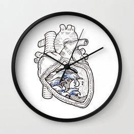 Ocean heart | Retro waves Wall Clock