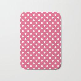 Small Polka Dots - White on Dark Pink Bath Mat