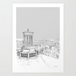 Overlooking Edinburgh (pale grey version) Art Print
