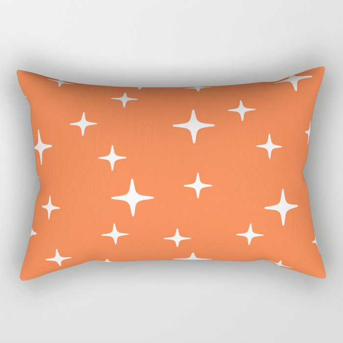 Mid Century Modern Star Pattern 443 Orange Rectangular Pillow