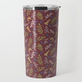 Ditsy Bunnies Amok - Tan Bunnies, Auburn Background Travel Mug