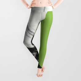 Black and White Marble with Pantone Greenery Leggings