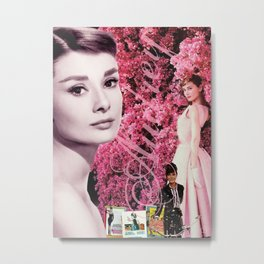 Audrey Hepburn Pink Collage Metal Print