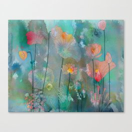 Water Lilies illustration watercolor painting  Canvas Print