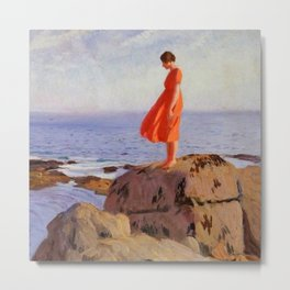 The Dark Pool, Solitary Woman in an Orange Dress coastal landscape painting by Laura Knight Metal Print