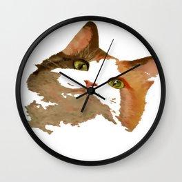I'm All Ears - Cute Calico Cat Portrait Wall Clock