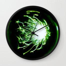 Green Glitter Firework In Sphere Wall Clock