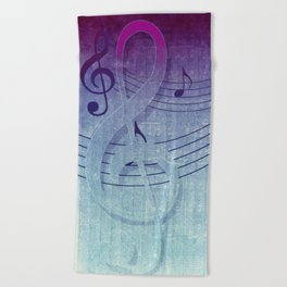 Aqua Purple Ombre Music Notes Beach Towel