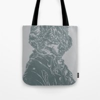 mozart Tote Bags featuring Wolf Amadeus Mozart by Joshua Kemble