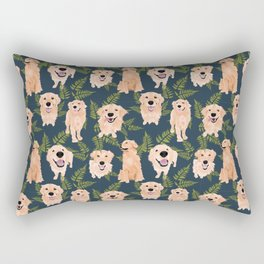 Golden Retrievers and Ferns on Navy Rectangular Pillow