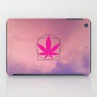 marijuana iPad Cases featuring vitruvian marijuana by Emekli Astronot