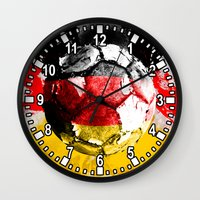 germany Wall Clocks featuring  football germany by seb mcnulty