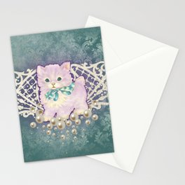 Kitschy Pearl Kitten Stationery Cards