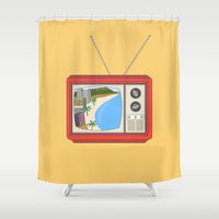 hawaiian Shower Curtains featuring Hawaiian TV by uzualsunday