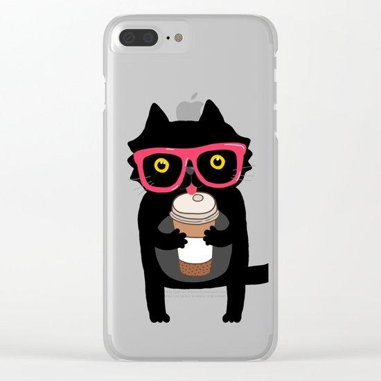 Black cat + coffee Clear iPhone Case