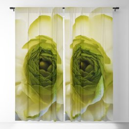 white and green flower Blackout Curtain