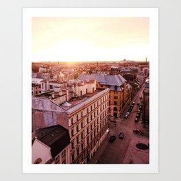 Riga at Sunset Art Print