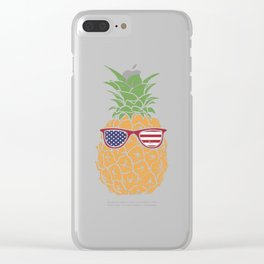 Funny 4th Of July US Flag Pineapple Clear iPhone Case