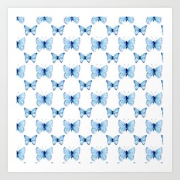 Blue Butterflies Pattern Butterfly Watercolor Art Print