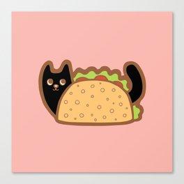 Taco Cat Black Canvas Print