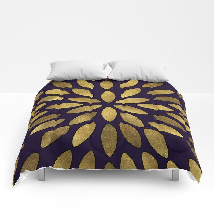 Classic Golden Flower Leaves Pattern Comforters