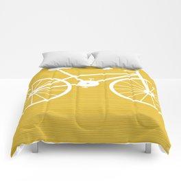 Yellow Bike by Friztin Comforters
