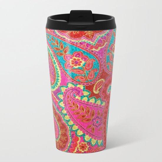 Floral Paisley Pattern 07 Metal Travel Mug