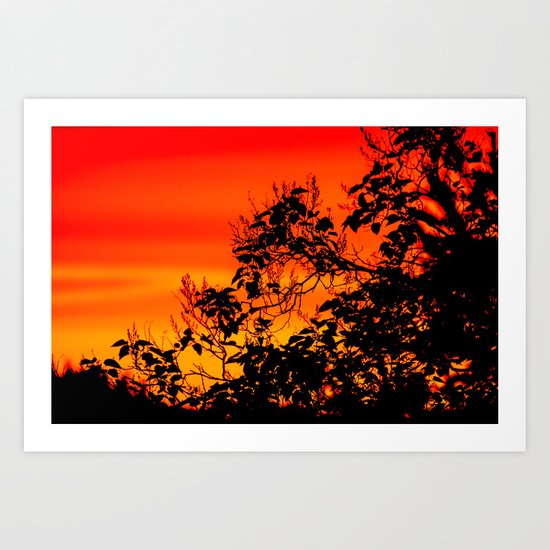 Silhouette of leaf with red autumn sky  Art Print