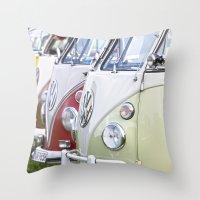 volkswagen Throw Pillows featuring Old Volkswagen Splitty Buses by Premium