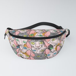 diverse sphynx cat allover print Fanny Pack