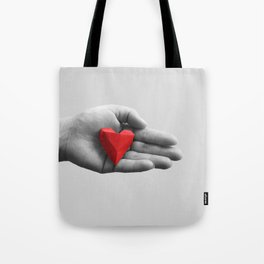 hand with red heart Tote Bag