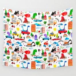 Dinosaur City Watercolor Transportation Pattern Wall Tapestry