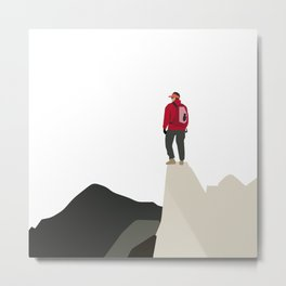 Reach For The Top! Mountain Climber - Never Give Up Metal Print