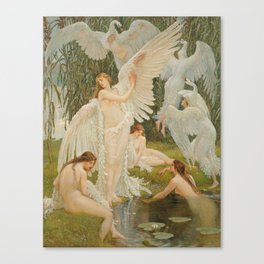 White Swans and the Maidens angelic garden landscape painting by Walter Crane  Canvas Print