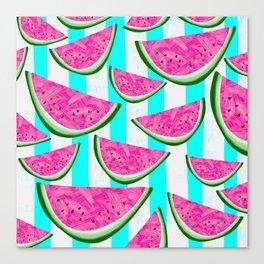 Watermelon Crush on Aqua and White Stripes Canvas Print