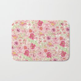 Pastel pink red watercolor hand painted floral Bath Mat
