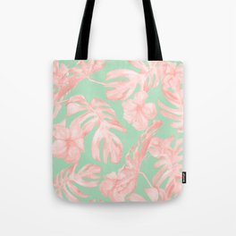 Tropical Palm Leaves Hibiscus Pink Mint Green Tote Bag