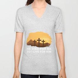 Christian Bible Verse Shirt Jesus Died For Me Gift Unisex V-Neck
