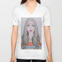 nordic V-neck T-shirts featuring Nordic Girl by snowfairy