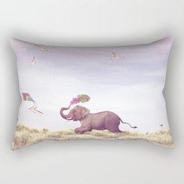 Elephant running after a kite Rectangular Pillow