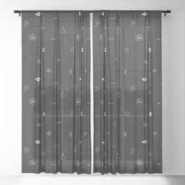 Southwestern Symbolic Pattern in Black & Cream Sheer Curtain